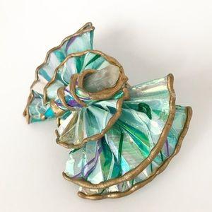 Vintage Mermaid Crystal Hair Bow Deco Unique Clip